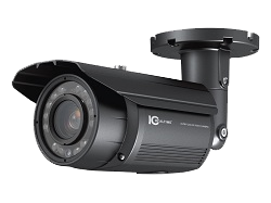 Wall-mounted security camera.